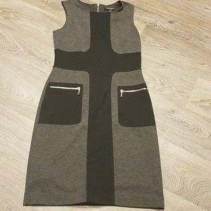 Sharagano Color-Bloc Midi Knit Dress Size 4